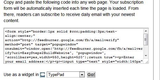 Image of email subscription form code