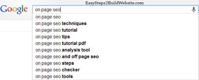 google search for finding LSI keywords