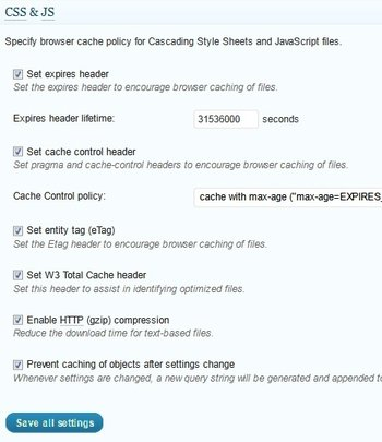 browser cache settings css js