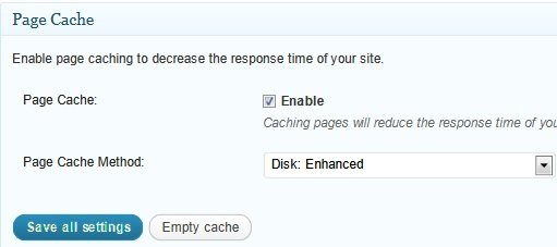 general settings page cache