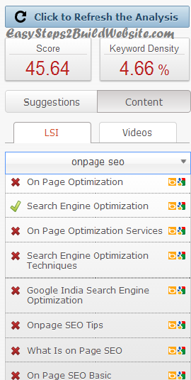 seopressor screen for LSI keywords suggestion