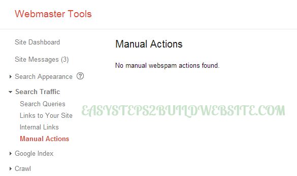 manual actions in Google webmaster tools