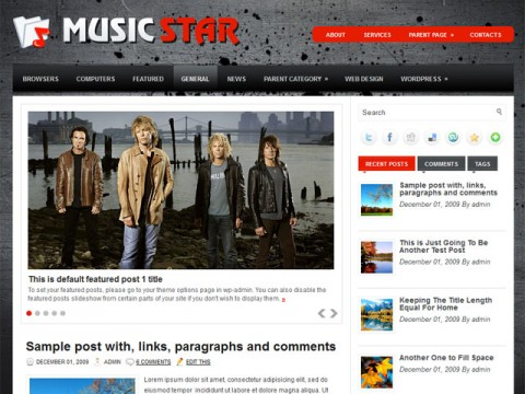 Free Responsive Portfolio WordPress Themes - Music Star