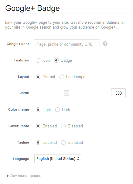 Google+ badge configuration screen