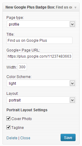 New Google+ badge widget wordpress plugin