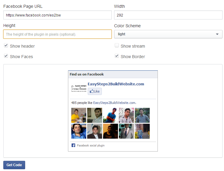 Add Facebook Like Box  to a WordPress Website - Config page