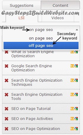 LSI keywords suggestions by SEOpressor plugin