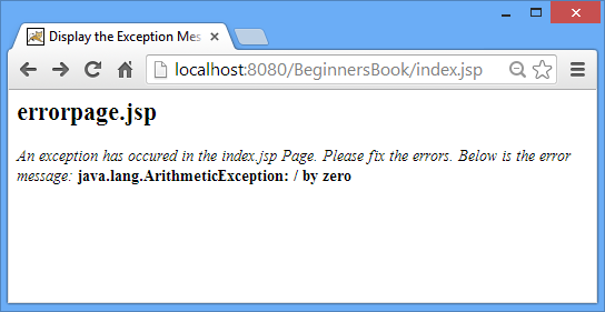 exception example output1 Exception handling in JSP