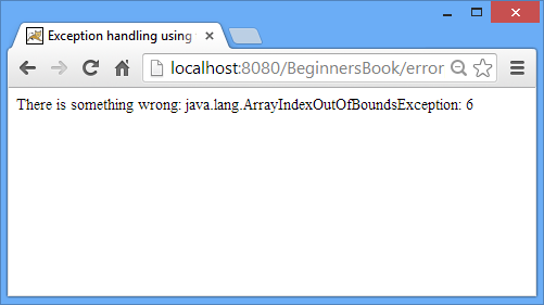 exception example output2 Exception handling in JSP