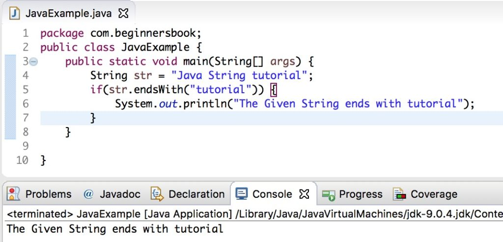 Java String endsWith() method example