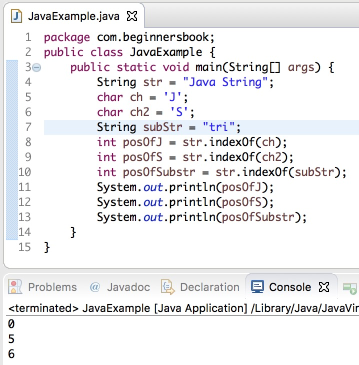 Java String IndexOf() method example