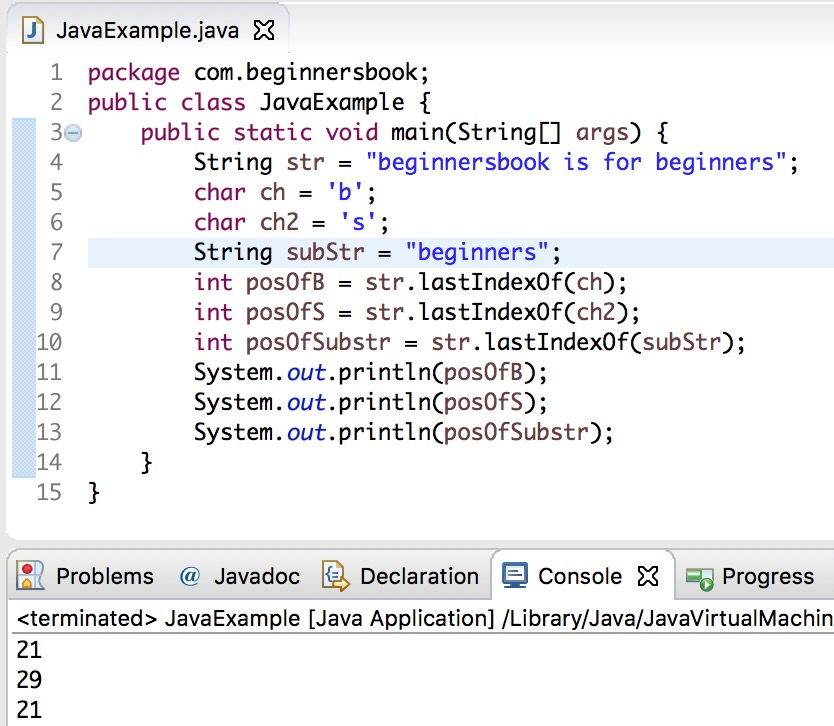 end of line character java
