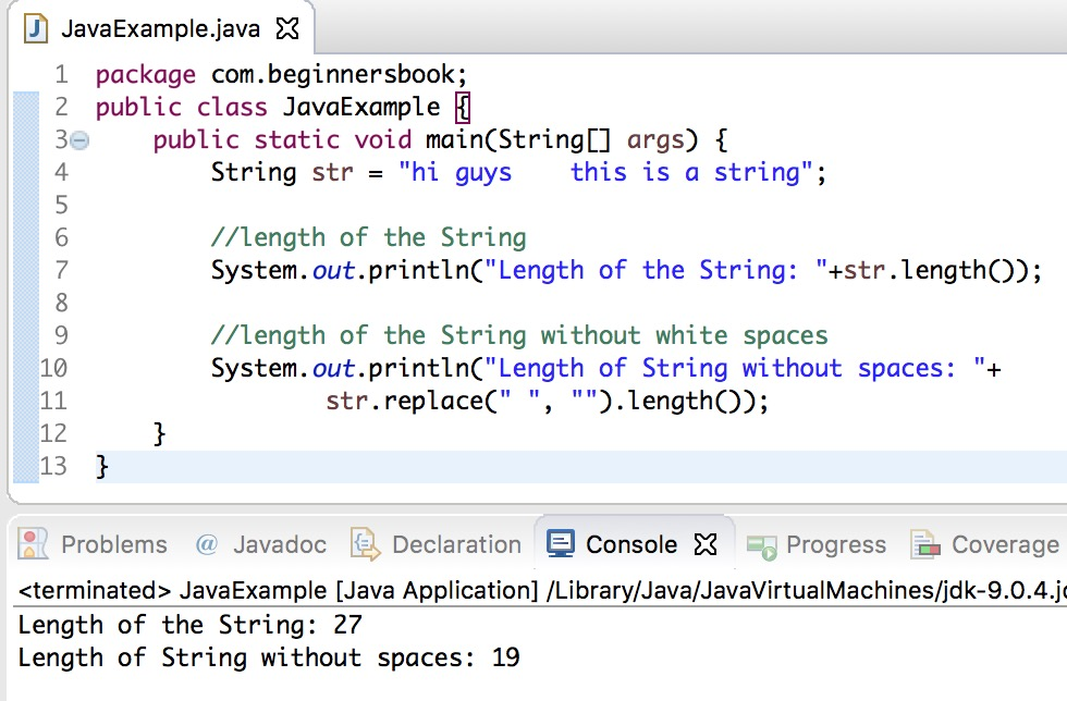 Java String length() Method with examples