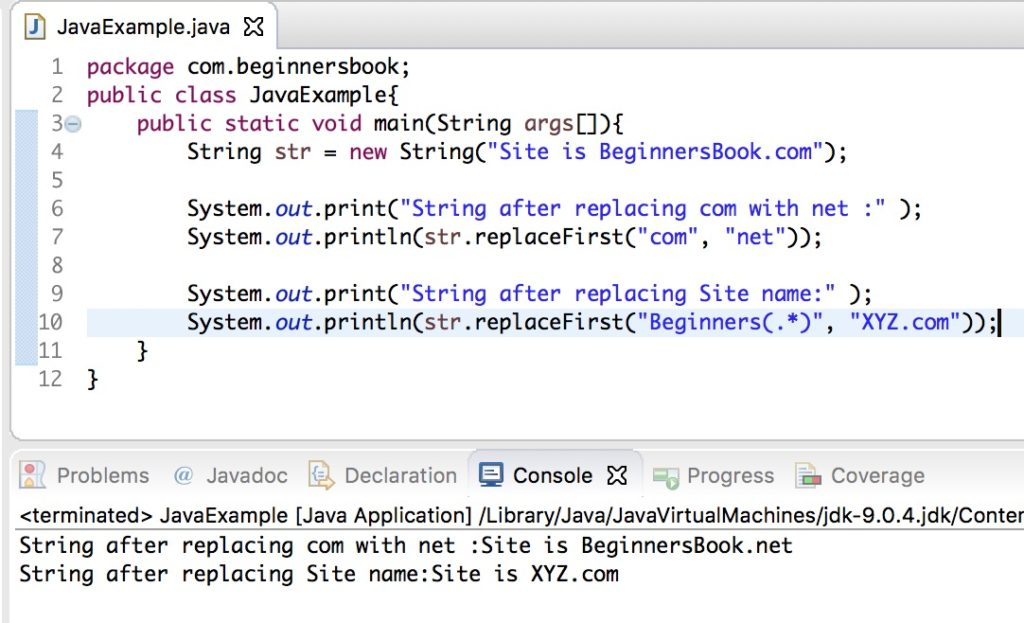 Java String replaceFirst() method example