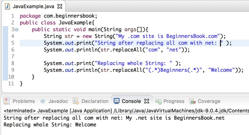 Java String replaceAll() method example