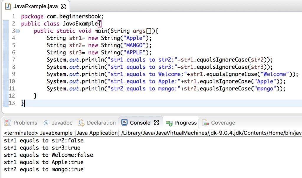 Java String equals() and equalsIgnoreCase() Methods example
