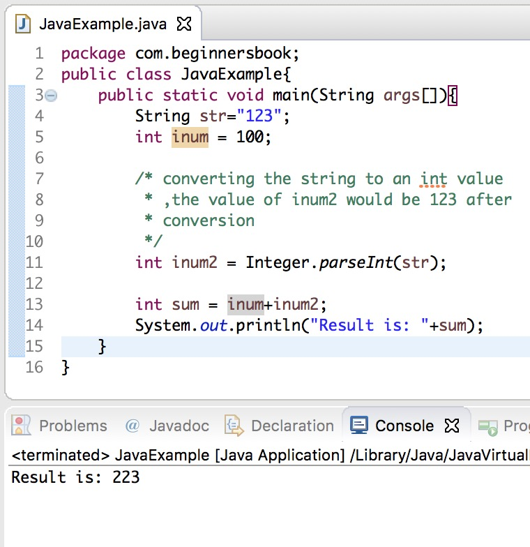 Java convert string to int using pareseInt()