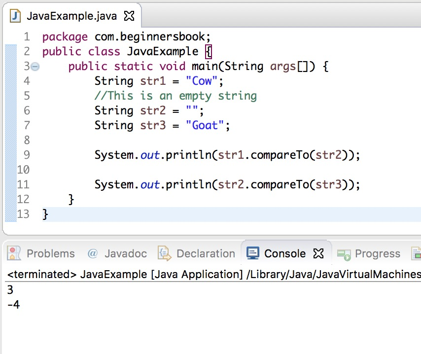 Java String compareTo() method example