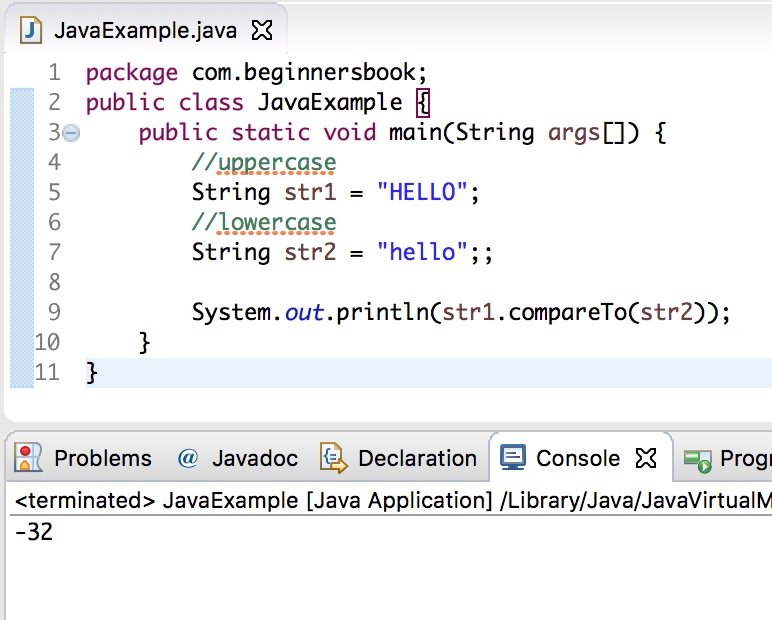 Java String compareTo() Method with examples