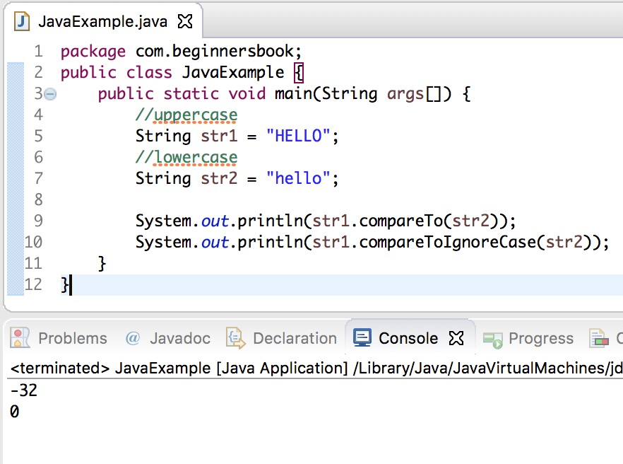 Java String compareToIgnoreCase() Method example