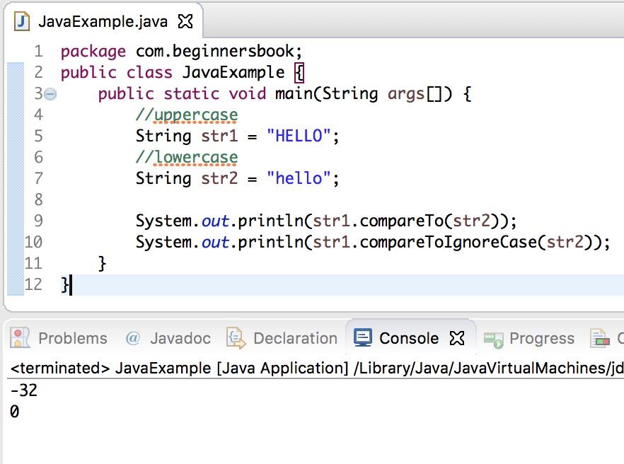 Java String compareToIgnoreCase method example