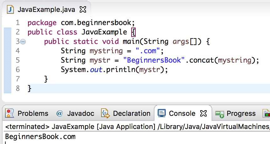 Java String concat method example
