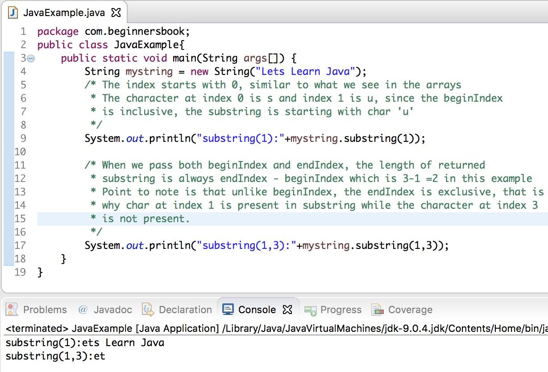 Java - String substring() Method example