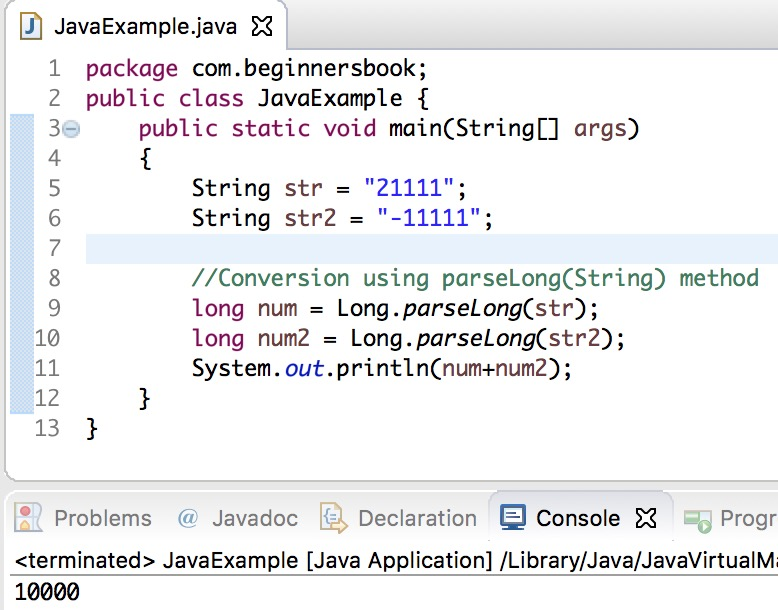 Java String to long Conversion with examples