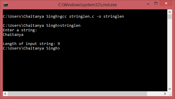 C program to find the length of a String without using function ...