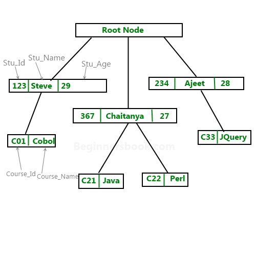 Hierarchical model in DBMS