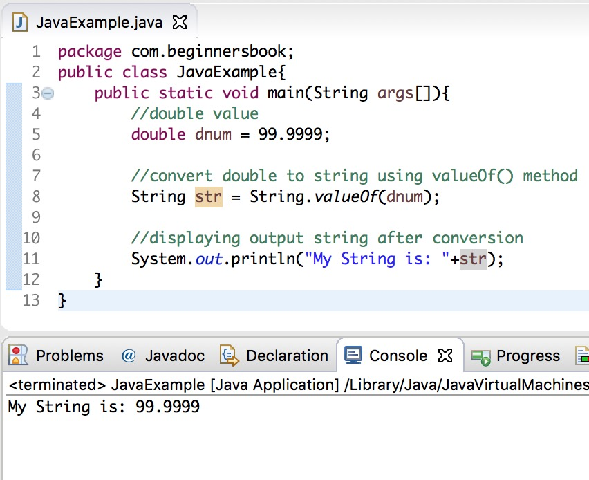 Java Convert double to String