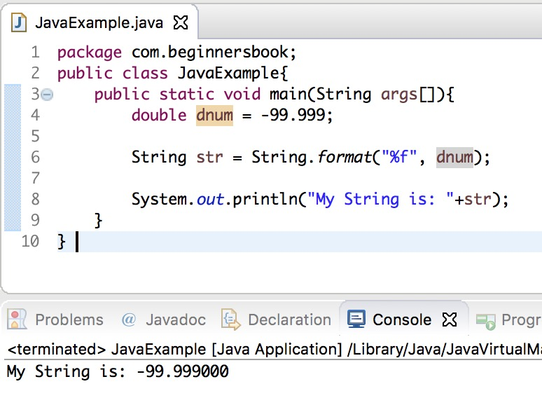 Java Convert double to string using String.format()