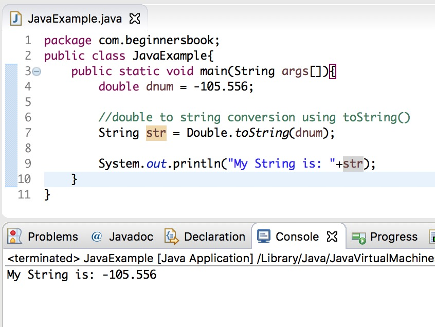 Java - Convert double to string example