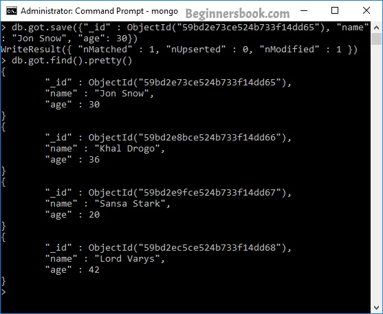 MongoDB save() method to update document