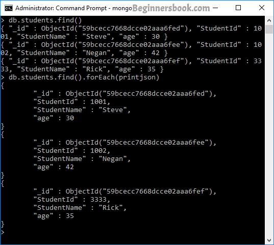 Printing documents in JSON format