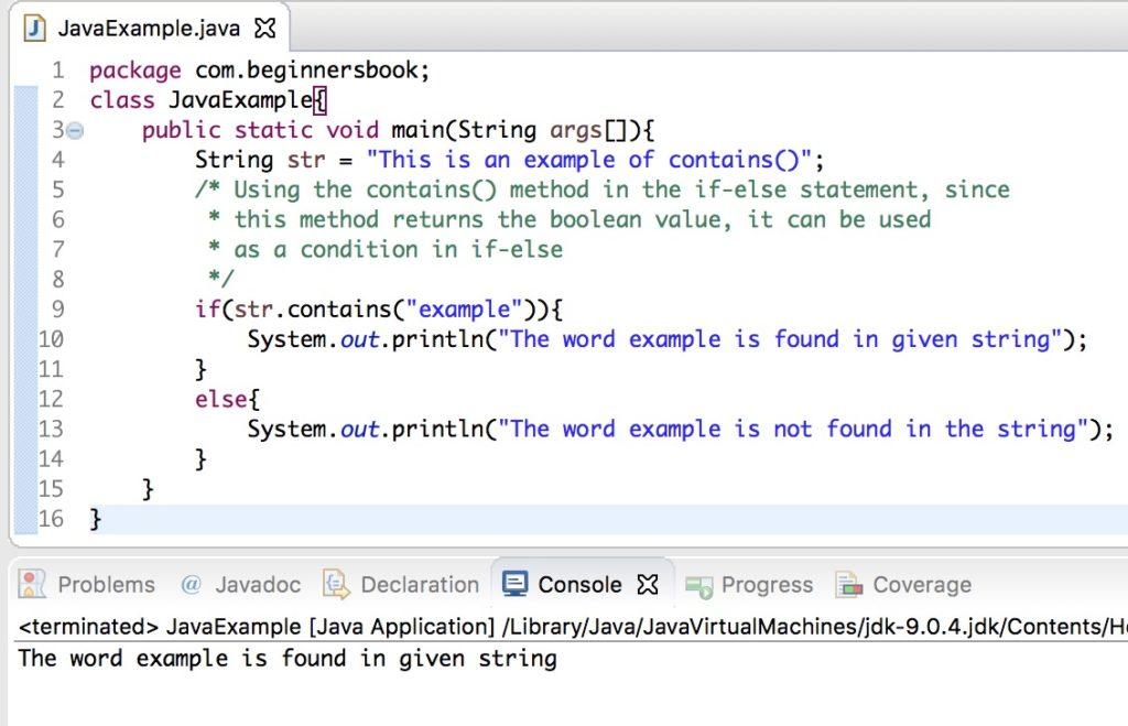 Java String contains method example