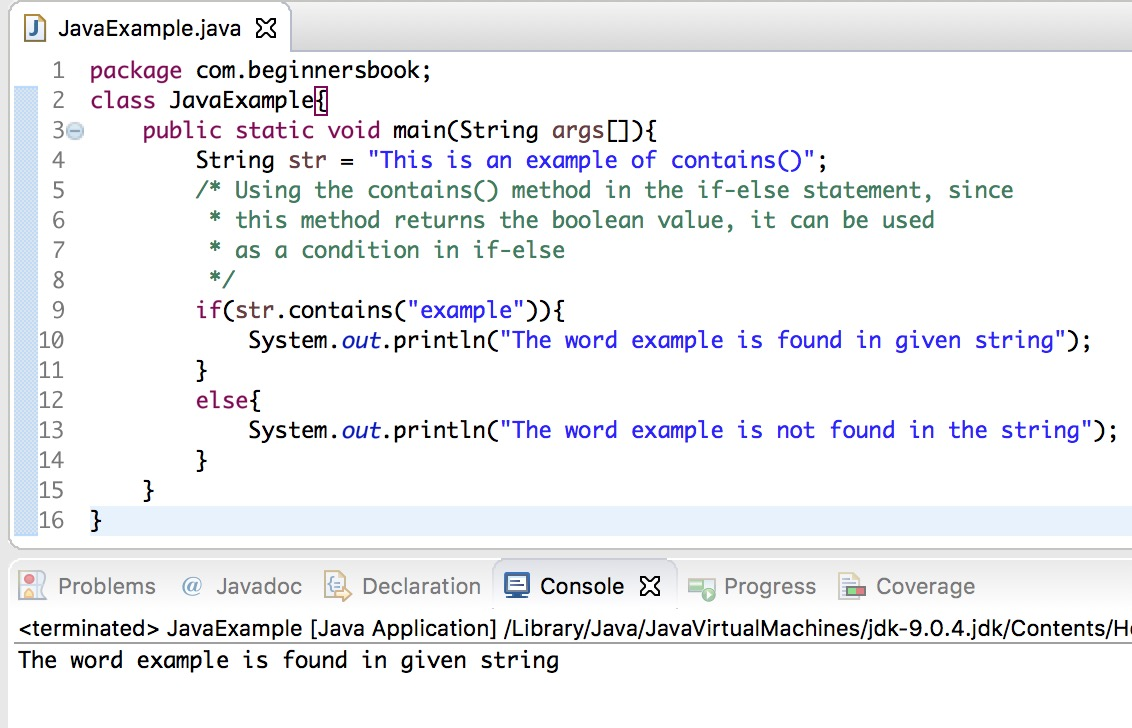 Java String contains() method explained with examples