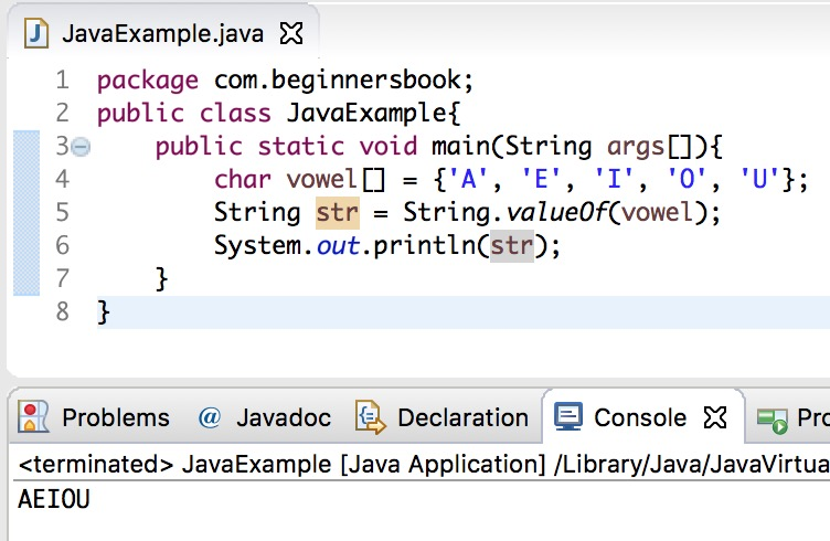 String valueOf() method in Java Example