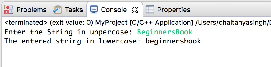 Uppercase String to lowercase in C++