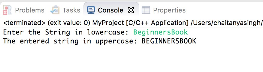 Lowercase to Uppercase conversion in C++