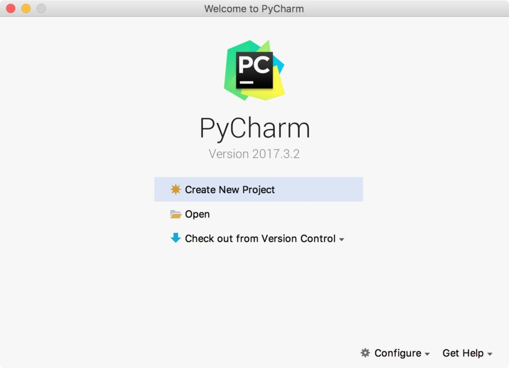 Create New Project PyCharm Welcome Screen