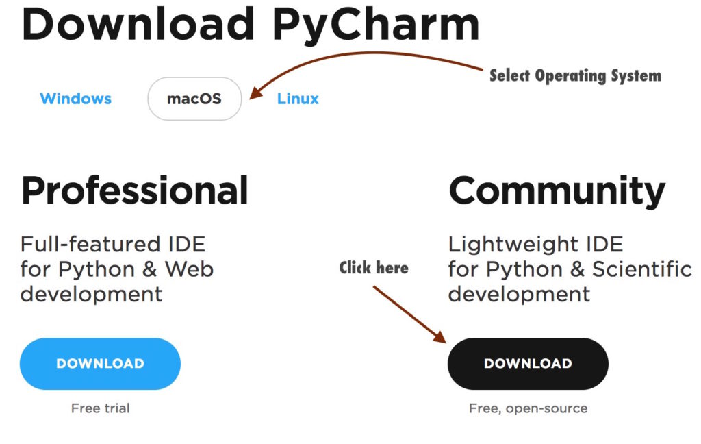 Download PyCharm community edition
