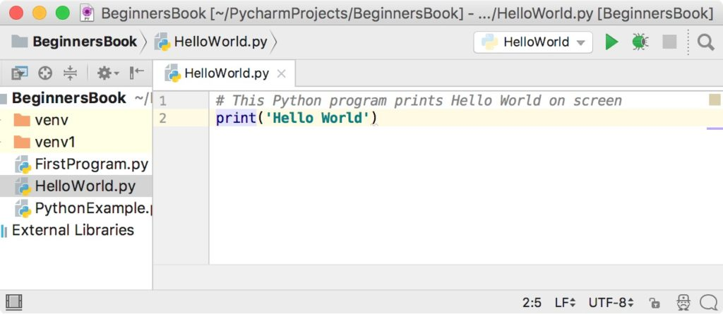 Hello World Python Program PyCharm