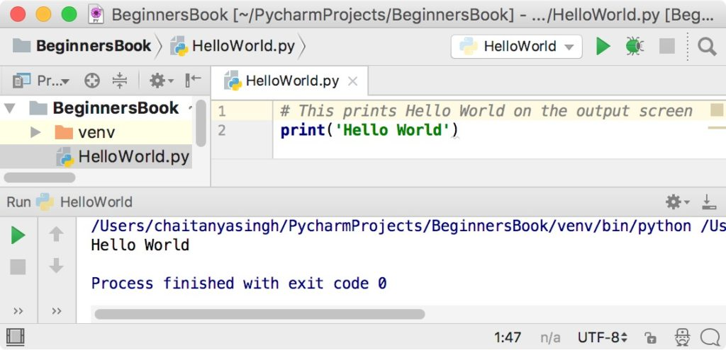 Displaying Hello World on the Screen using Python script