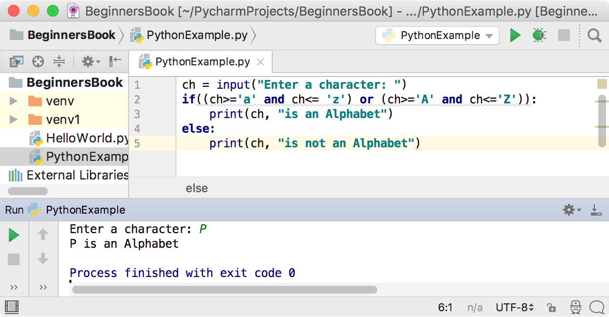 Python Program to Check Alphabet
