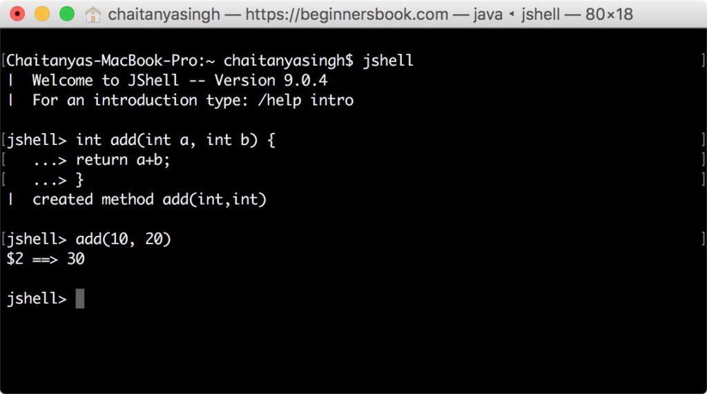 JShell Methods