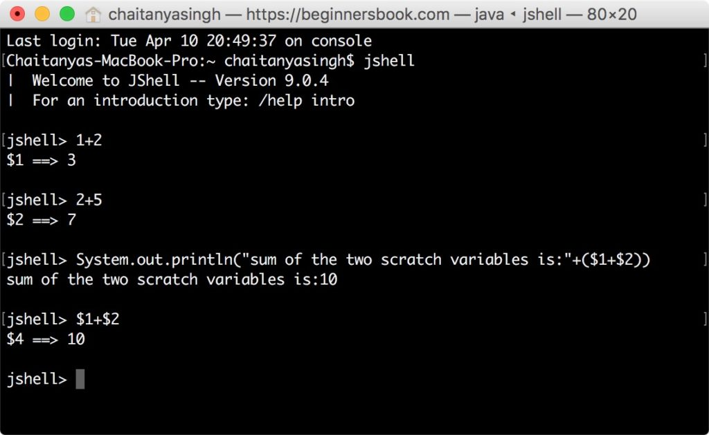 jshell scratch variables