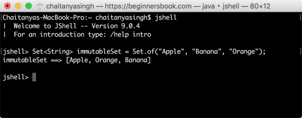 Creating Non Empty Set in Java 9 using method of()