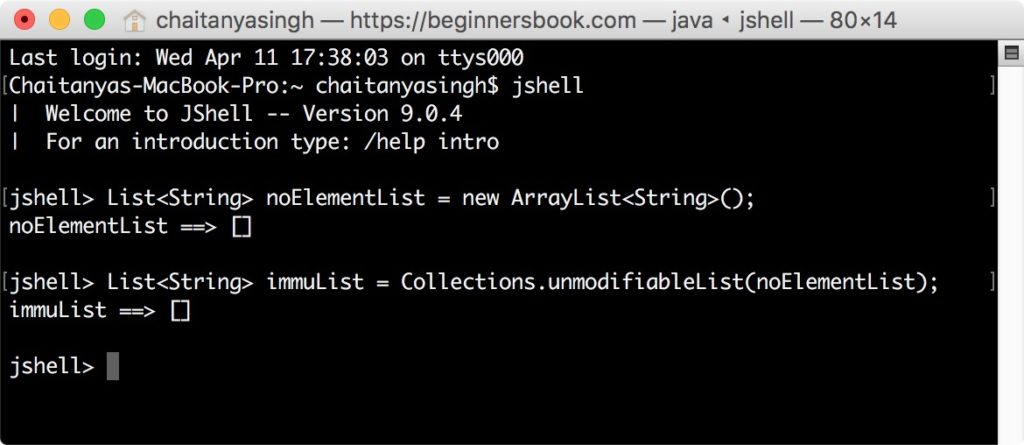 Creating immutable list before Java 9