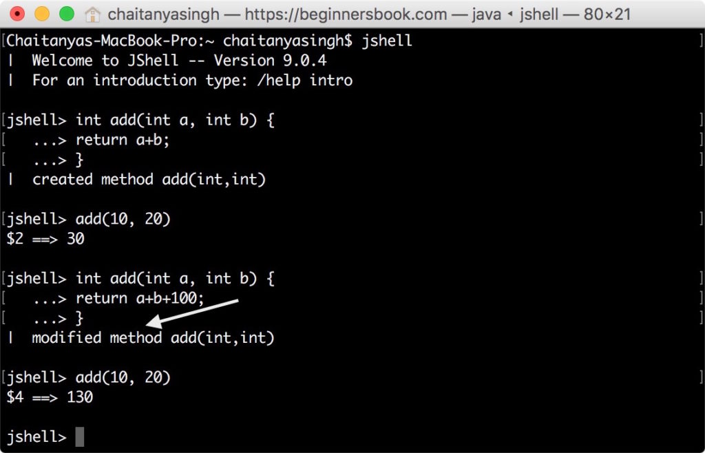 JShell changing method definition